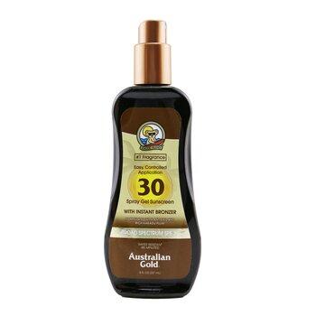 Australian Gold Spray Gel Sunscreen Broad Spectrum SPF 30 with Instant Bronzer  237ml/8oz