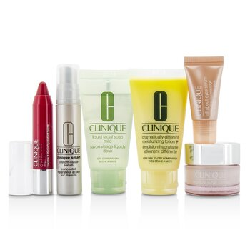 Clinique Zestaw podróżny Travel Set: Facial Soap 30ml + DDML+ 30ml + Moisture Surge Intense 15ml + Smart Serum 10ml +Eye Serum 5ml + Chubby Stick #05  6pcs