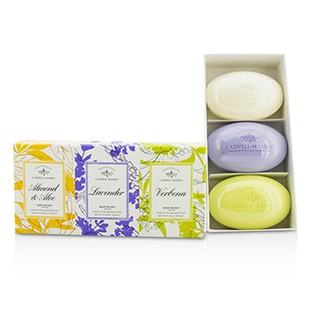 Caswell Massey Signature Set de Janones: Almond & Aloe, Lavender, Verbena  3x150g/5.2oz