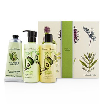 クラブツリー&イヴリン Avocado, Olive & Basil Essentials Set: Bath & Shower Gel 250ml + Body Lotion 250ml + Hand Therapy 100g  3pcs