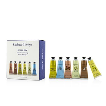 Crabtree & Evelyn Super Six Ultra-Moisturising Hand Therapy Set: Pomegranate + Citron + Gardeners + La Source + Avocado + Verbena  6pcs