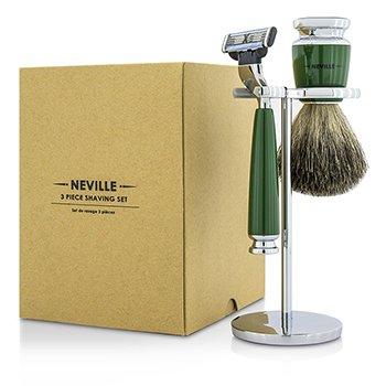 Neville Set De Afeitar 3 Piezas: Hoja De Afeitar + Pure Badger Brocha De Afeitar + Columna  3pcs