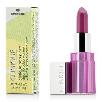 Clinique Pop Glaze Color de Labios Puro + Primer  - # 08 Sprinkle Pop  3.9g/0.13oz