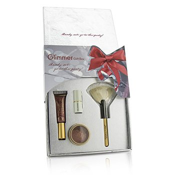 Jane Iredale The Glimmer Gift Box: 1x PureGloss Lip Gloss, 1x 24 Karat Gold Dust Shimmer Powder, 1x Mini Just Kissed Lip & Cheek Stain, 1x White Fan Brush (Travel Size)  4pcs