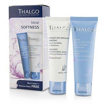 Thalgo Kit Ideal Softness: Crema Bio-Protectora 50ml + Immediate Bio-Soothing Mascarilla 50ml  2pcs