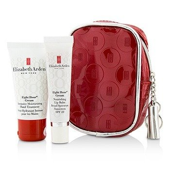 Elizabeth Arden Eight Hour Cream Set: Intensive Moisturizing Hand Treatment 30ml/1oz + Nourishing Lip Balm SPF 20 14.2g/0.5oz + Bag  2pcs+1bag