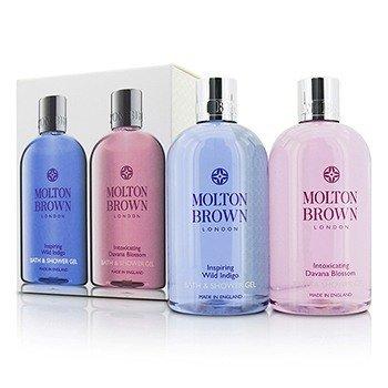 Molton Brown Body Wash Set: Inspiring Wild Indigo 300ml/10oz + Intoxicating Davana Blossom 300ml/10oz  2pcs