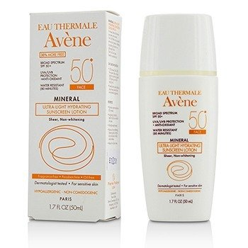 Avene Mineral Ultra-Light Hydrating Sunscreen Lotion SPF 50 For Face - For Sensitive Skin  38.5ml/1.3oz