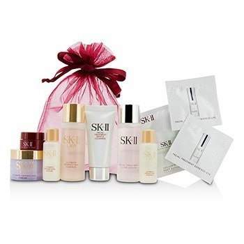 SK II Travel Set: Cleanser 20g + Clear Lotion 30ml + Essence 30ml + Essence 10ml + Serum 10ml + Cream 15g + Eye Cream 2.5g  7pcs
