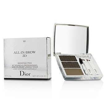 Christian Dior Kit All In Brow 3D Contorno de Cejas de Larga Duración (2x Polvo de Cejas, 1x Cera de Cejas, 3x Mini Aplicador) - # 001 Brown  7.5g/0.26oz