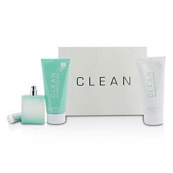 Clean Clean Warm Cotton Coffret: Eau De Parfum Spray 60ml/2.14oz + Gel de Baño & Ducha 177ml/6oz + Loción Corporal 177ml/6oz  3pcs