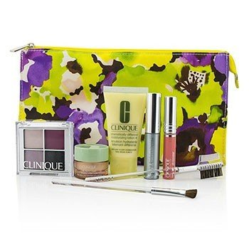Clinique Zestaw podróżny Travel Set: DDML+All About Eyes+Eye Shadow Quad+Mascara+Long Last Glosswear+Brushx2+Bag  7pcs+1bag