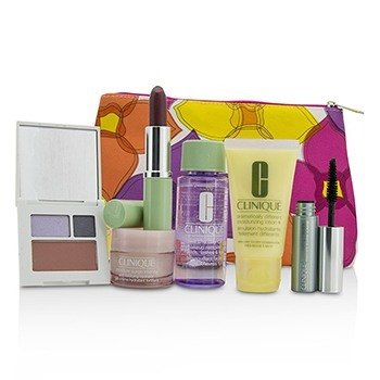 クリニーク Travel Set: Make Up Remover+DDML+Moisture Surge Intense+Eye Shadow Duo & Blush+Mascara+Lipstick+Bag  6pcs+1bag