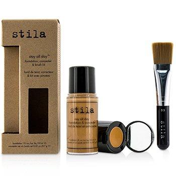Stila Stay All Day Foundation, Concealer & Brush Kit - # 12 Tan (Box Slightly Damaged)