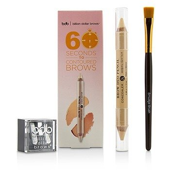 Billion Dollar Brows Kit 60 Seconds to Contoured Brows (1x Lápiz de Cejas Dúo, 1x Brocha Difuminadora, 1x Saca Puntas Dúo)  3pcs