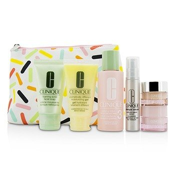 Clinique Travel Set: Sonic Facial Soap + Clarifying Lotion 3 + DDMG + Smart Serum + Moisture Surge Intense +  6pcs+1bag