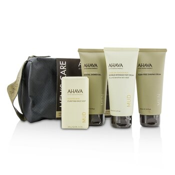 Ahava Men's Care Set: Shaving Cream 100ml + Mineral Shower Gel 100ml + Dermud Intensive Foot Cream 100ml + Purifying Mud Soap 100g  4pcs