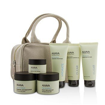 Ahava Set Hydrating Beauty Case: Gel Limpiador 100ml+Mascarilla de Lodo 100ml+Mascarilla en Crema 100ml+Día 50ml+Noche 50ml+Crema de Ojos 15ml+Bolsa  6pcs+1bag
