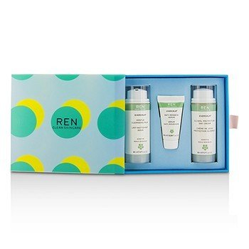 レン Evercalm Sensitive Skin Kit: 1x Gentle Cleansing Milk 50ml, 1x Anti-Redness Serum 10ml, 1x Global Protection Day Cream 50ml  3pcs