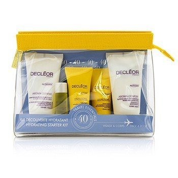 Decleor Kit Hydrating Starter: Mousse Limpiador + Essential Suero 5ml + Crema Ligera 15ml + Leche Corporal 50ml + Bag  5pcs+1bag