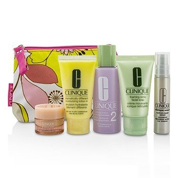 Clinique Set Travel: Facial Soap 30ml + Lotion 2 60ml + DDML 30ml + Serum 10ml + All About Eyes 7ml + Tas  5pcs+1bag