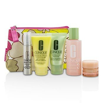 Clinique Set Travel: Facial Soap 30ml + Lotion 3 60ml + DDMG 30ml + Serum 10ml + All About Eyes 7ml + Tas  5pcs+1bag