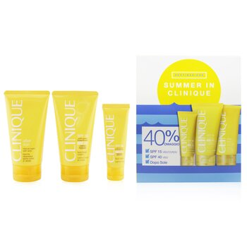 クリニーク Summer In Clinique Coffret: Face Cream SPF 40 50ml+ Face/Body Cream SPF 15 150ml + After Sun Rescue Balm With Aloe 150ml  4pcs