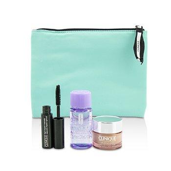 Clinique Travel Set: All About Eye 15ml + Mascara 3.5ml + Eye Makeup Remover 30ml+1Bag  3pcs+1bag