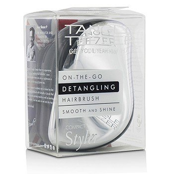 タングルティーザー Compact Styler On-The-Go Detangling Hair Brush - # Starlet Silver  1pc