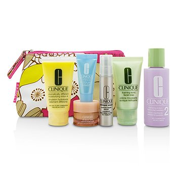 Clinique Set Travel: Facial Soap 30ml+Lotion 2 60ml+Smart Serum 10ml+Turnaround Serum 7ml+All About Eyes 7ml+Tas  6pcs+1bag