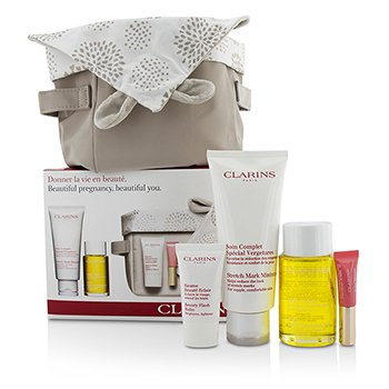 Clarins Beautiful Pregnant Set: Stretch Mark Minimizer 200ml+ Body Oil 100ml+ Flash Balm 15ml + Lip Perfector 5ml + Bag  4pcs+1bag