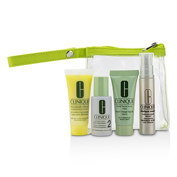 クリニーク Travel Set: Liquid Facial Soap Mild + Clarifying Lotion 2 + DDML+ + Smart Custom-Repair Serum + Bag  4pcs+1bag