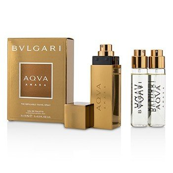 Bvlgari Aqva Amara The Refillable Eau De Toilette Spray de Viaje Recargable  3x15ml/0.5oz
