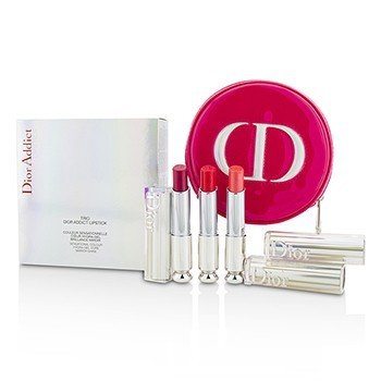Christian Dior Dior Addict Hydra Gel Core Mirror Shine Pintalabios Trio Set  3pcs+1case