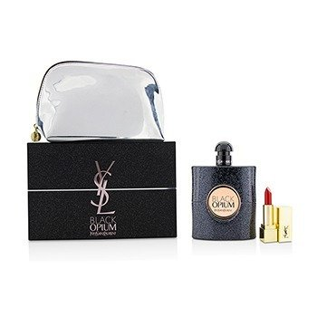 イヴサンローラン Black Opium Coffret: Eau De Parfum Spray 90ml/3oz + Mini Lipstick + Pouch  2pcs+pouch