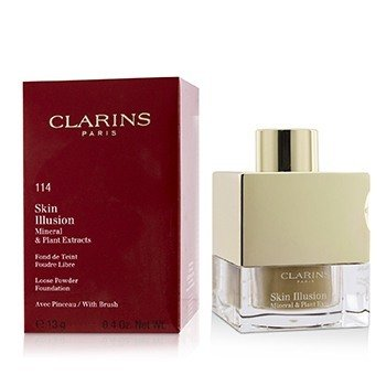 Clarins Skin Illusion Mineral & Plant Extracts Loose Powder Foundation (With Brush) (New Packaging)- # 114 Cappuccino  13g/0.4oz