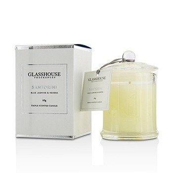 Glasshouse Triple Scented Candle - Santorini (Blue Jasmine & Hedera)  60g