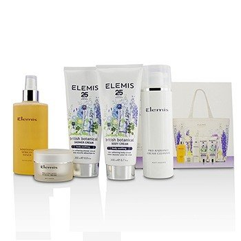 Elemis British Botanical Face & Body Experience Set: Cleanser + Apricot Toner + Collagen Marine Cream + Shower Cream + Body Cream + Bag  5pcs + 1 Bag