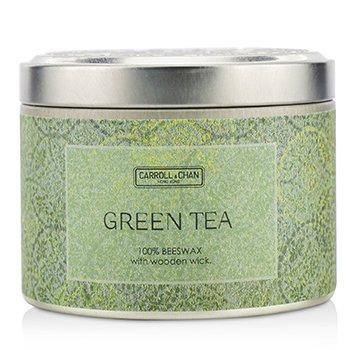 The Candle Company Tin Can 100% Beeswax Candle with Wooden Wick - Green Tea  (8x5) cm
