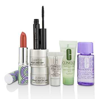 Clinique Bonus Travel Set: M/U Remover + Facial Soap + Repair Serum + 2x Moisturizer + Mascara + Lip Color  7pcs