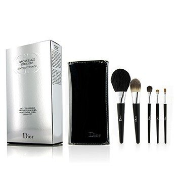 迪奧  Backstage Brushes Professional Finish Travel Brush Set Edition Voyage (Powder, Fluid Foundation, Eyeshadow, Eyeliner, Lip)  5pcs+1bag