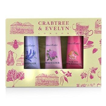 Crabtree & Evelyn Set Florals Terapia de Manos (1x Pear & Pink Magnolia, 1x Rosewater, 1x Lavender)  3x25g/0.9oz