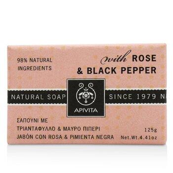 Apivita Jabón Natural Con Rosa & Pimienta Negra  125g/4.41oz