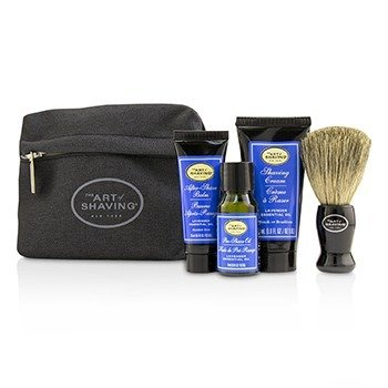 アートオブシェービング Starter Kit - Lavender: Pre Shave Oil + Shaving Cream + After Shave Balm + Brush + Bag  4pcs + 1 Bag