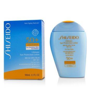 Shiseido Ultimate Sun Protection Lotion WetForce For Face & Body SPF 50+ - For Sensitive Skin & Children  100ml/3.3oz