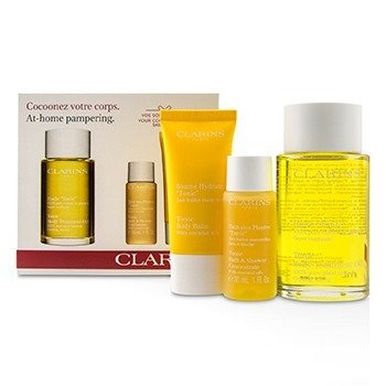 Clarins At-Home Pampering Body Kit: 1x Tonic Body Treatment Oil, 1x Bath & Shower Concentrate, 1x Tonic Body Balm  -