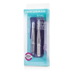 Tweezerman Petite Tweeze Set: Slant Tweezer + Point Tweezer - (With Lavendar Leather Case)  2pcs
