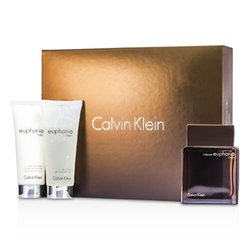 Calvin Klein Euphoria Intense Coffret: Eau De Toilette Spray 100ml/3.4oz + Bálsamo Para Después de Afeitar 100ml/3.4oz + Gel Baño Corporal 100ml/3.4oz  3pcs