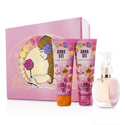 Anna Sui Secret Wish Fairy Dance مجموعة: ماء تواليت سبراي 50مل/1.7أوقية + لوشن الجسم 90مل/3أوقية + جل الإستحمام 90مل/3أوقية ( علبة زهرية )  3pcs