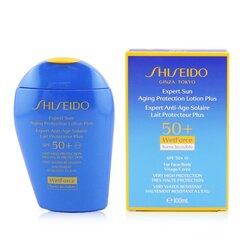 Shiseido Expert Sun Aging Protection lotion Plus WetForce arcra és testre SPF 50+  100ml/3.4oz
